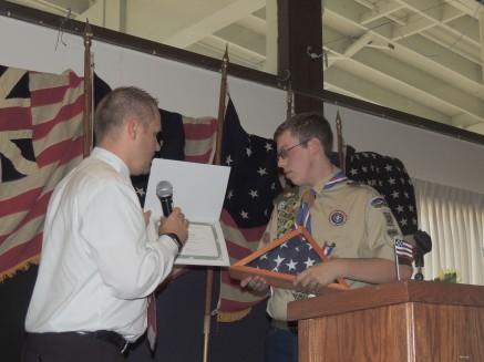 SNF Administrator Steve Cope Flag presentation