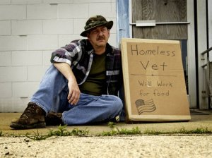 Homeless veteran - will work for food
