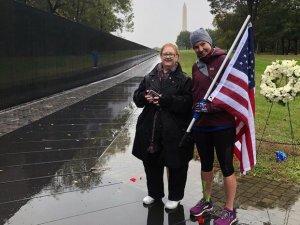 Military spouse running - flag