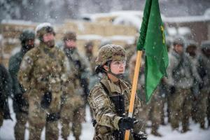 Army soldier and flag
