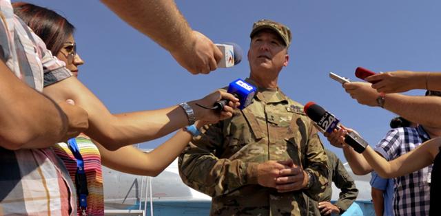 Deputy Adjutant General, Major General Matthew Beevers meets with reporters.