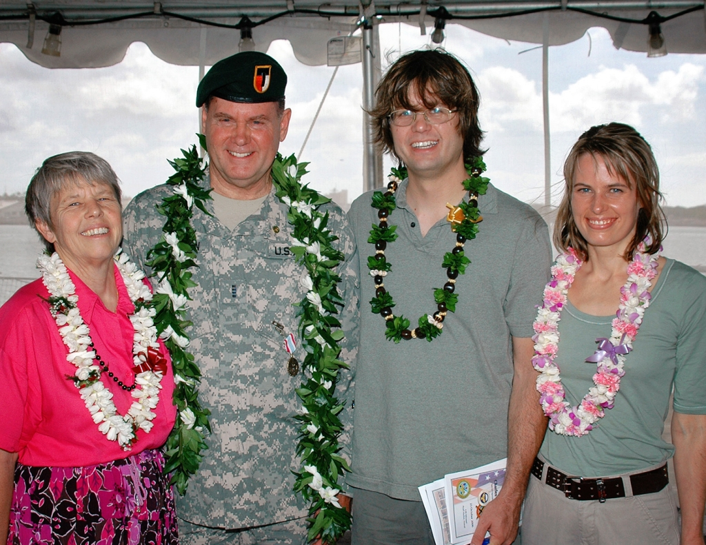 Chuck Woodson with his wife Sherry, son Mark and daughter Chris, when Woodson retired from the Army in 2006. Sherry passed in 2013.