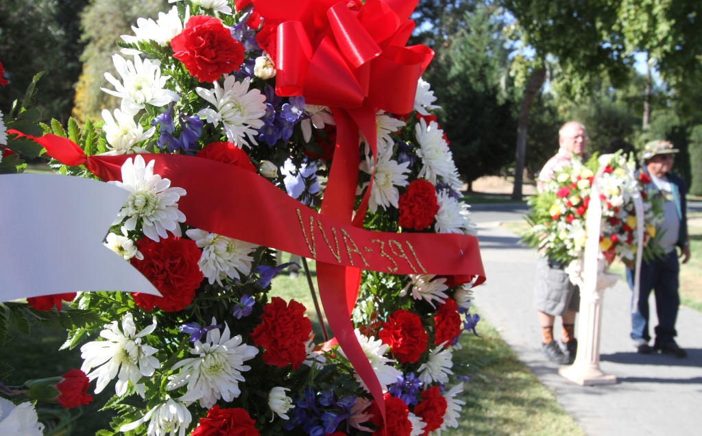 Wreath at the California Vietnam Veterans Memorial in Capitol Park.