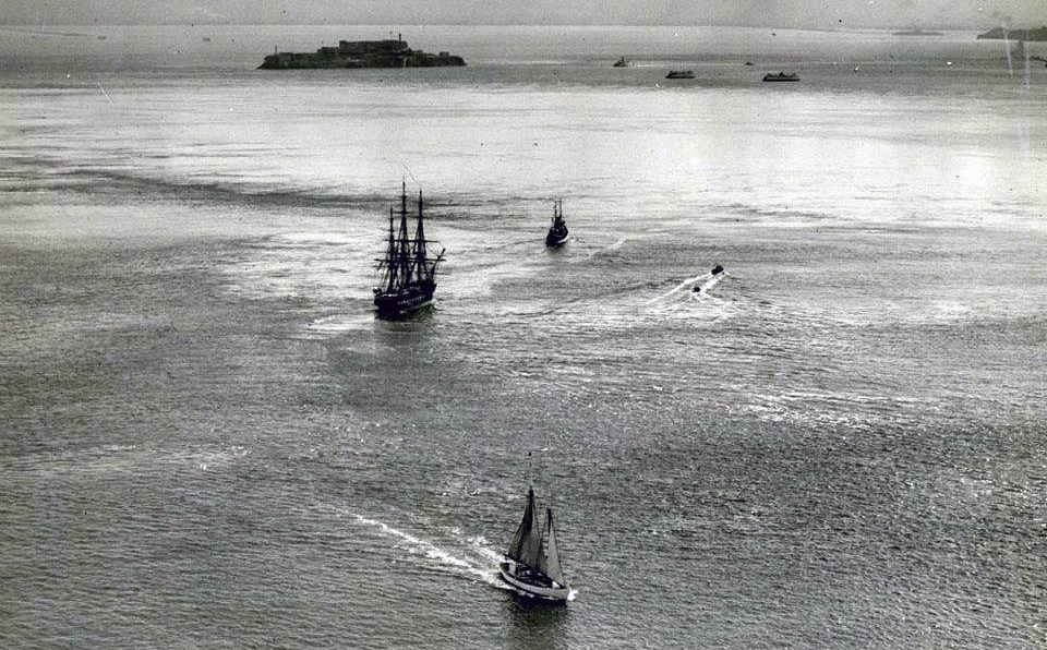 The USS Constitution, being towed by the USS Grebe in San Francisco Bay, July 1940.