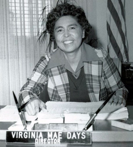Virginia Mae Days at her desk at CalVet.