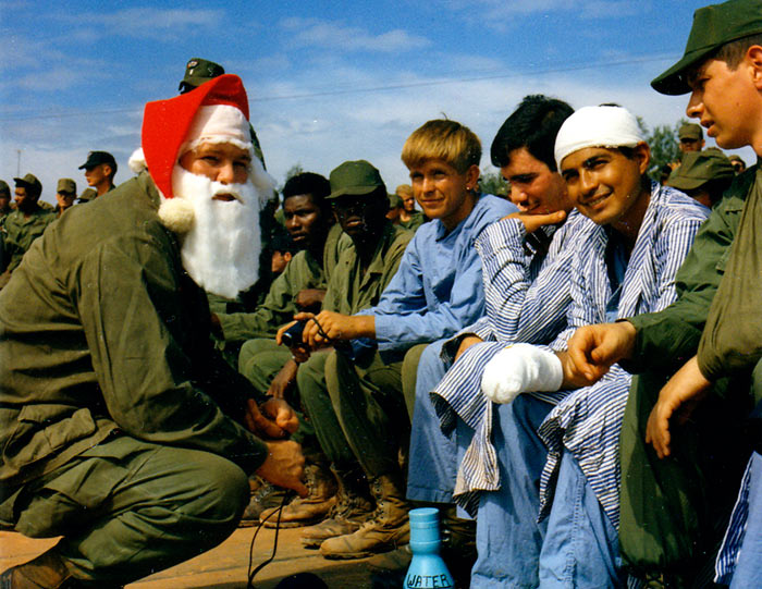 "Vietnam…""Santa Claus"" talks with a group of hospital patients during the Bob Hope Christmas Show. 22-29 Dec 1970."