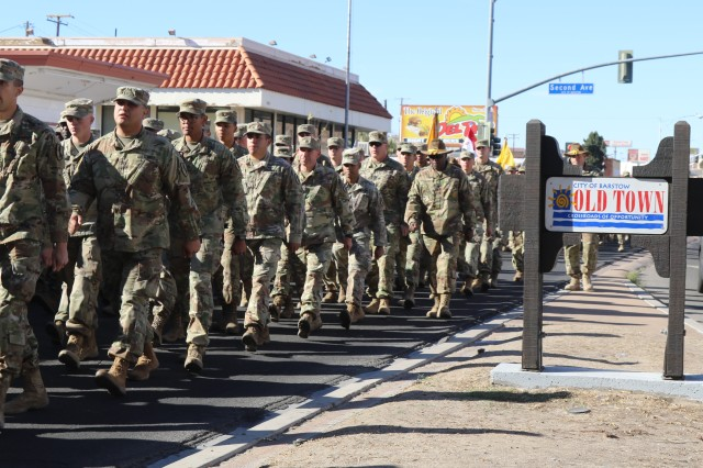 Troops marching to Barstow