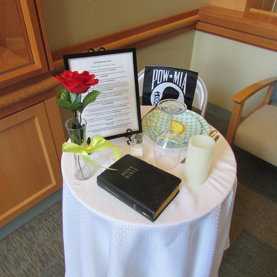 Photo of a Missing Man Honors table in Fresno.