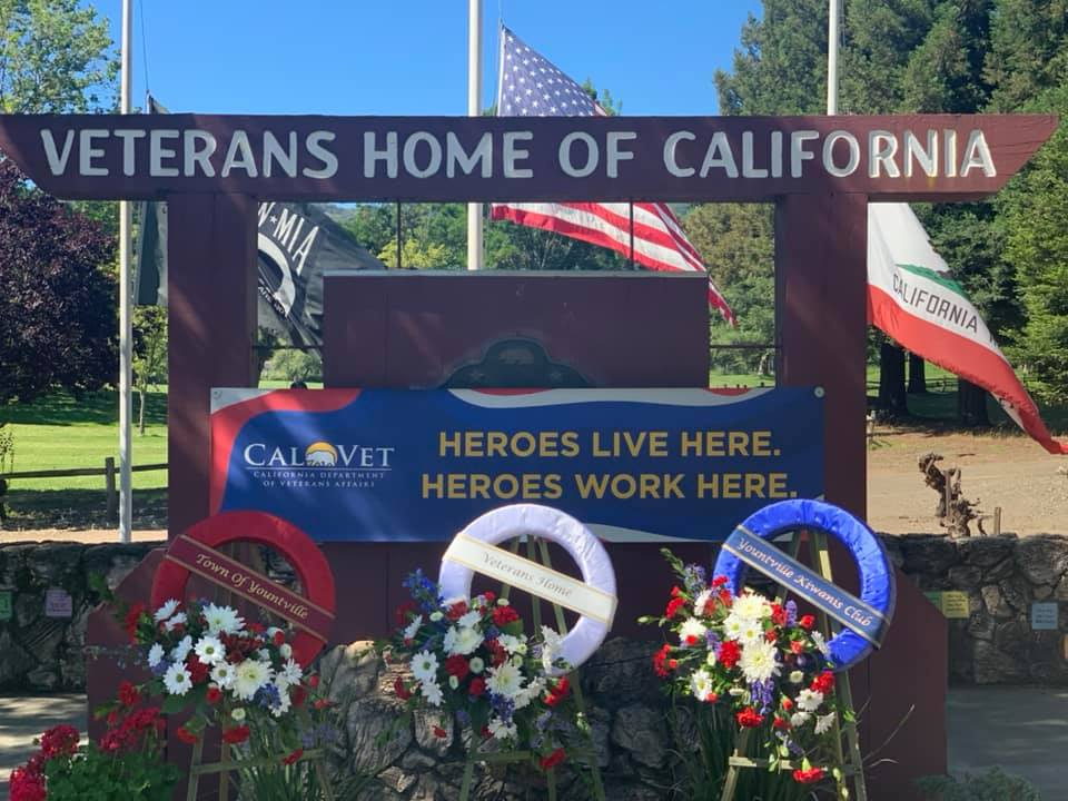 Entrance to Veterans Homes of California-Yountville on Memorial Day.