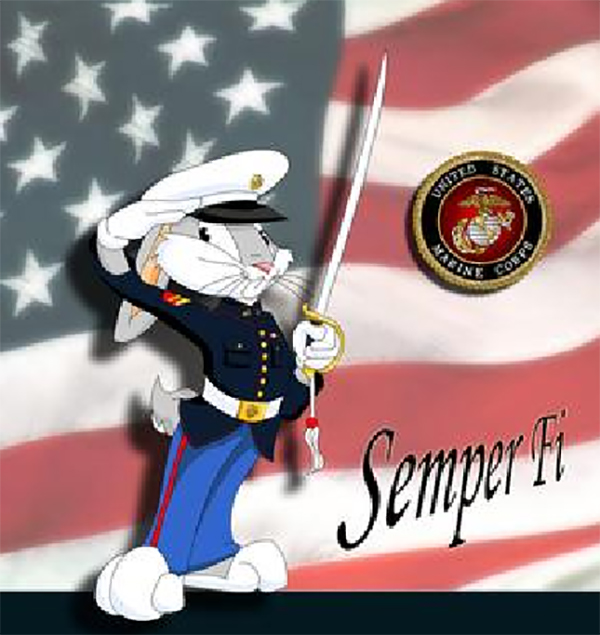 Bugs Bunny dressed in U.S. Marines Corps Blues.