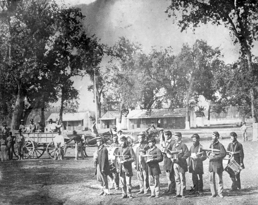 A photo of Camp Babbitt, circa 1864.