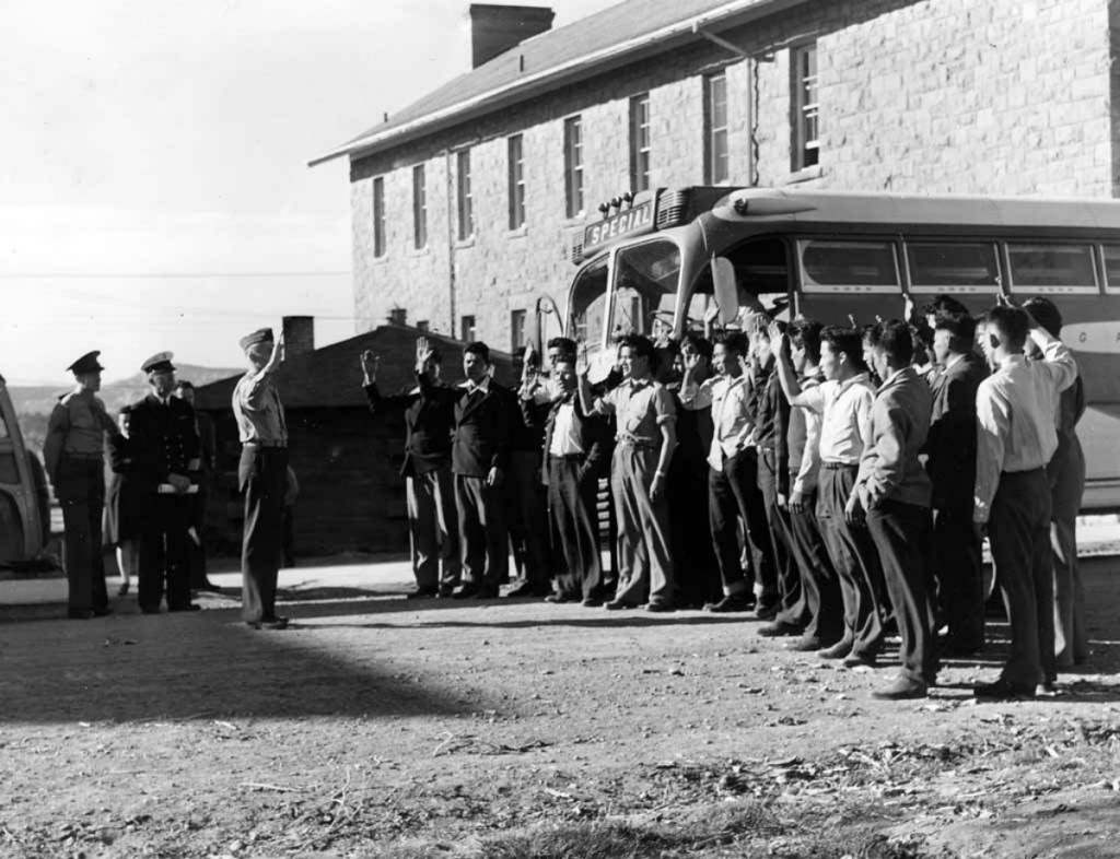 Code talkers line up to be sworn in at the Marine Corps basic training camp in San Diego.
