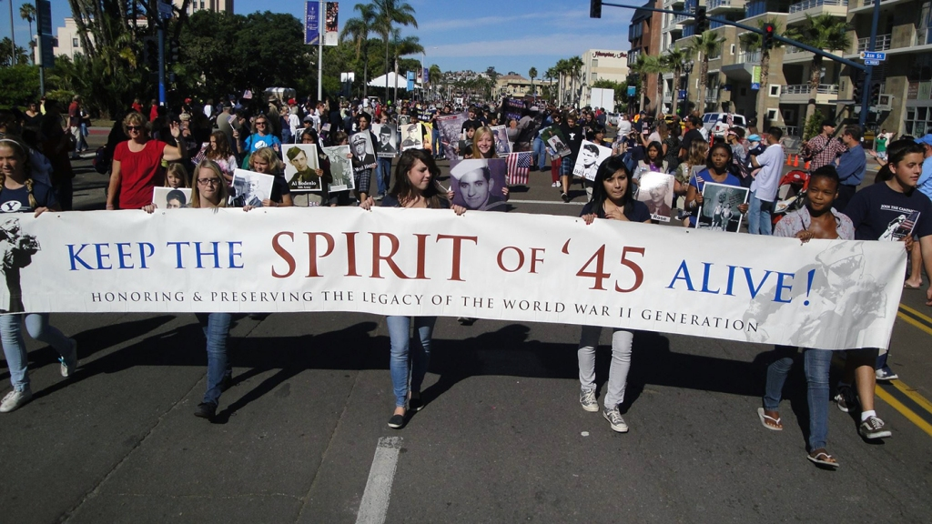 A photo of a Spirit of '45 parade in San Diego, 2019.