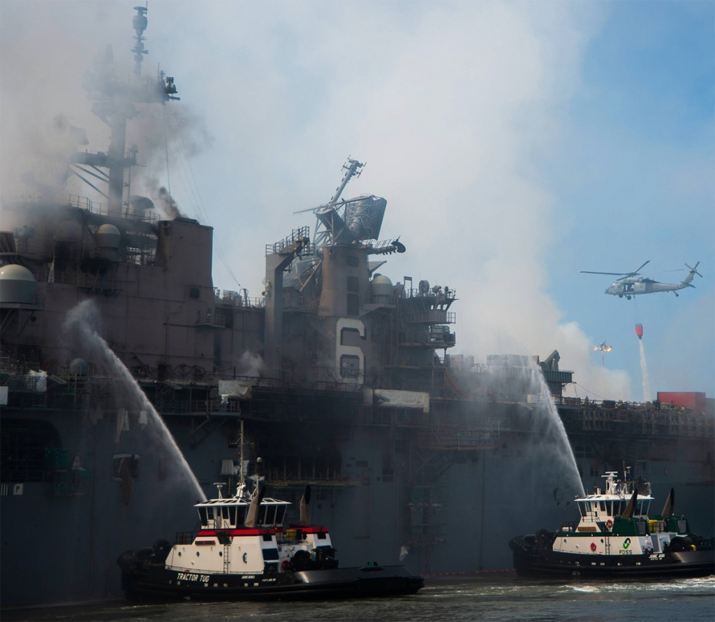 A photo of the USS Bonhomme Richard on fire.