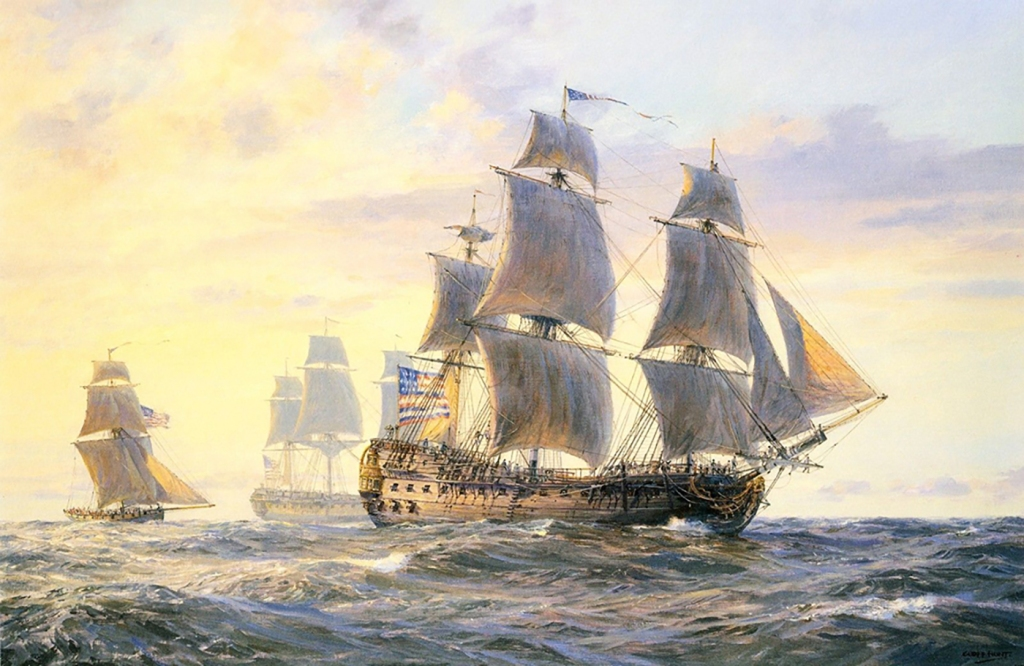 A painting of the frigate Bonhomme Richard.