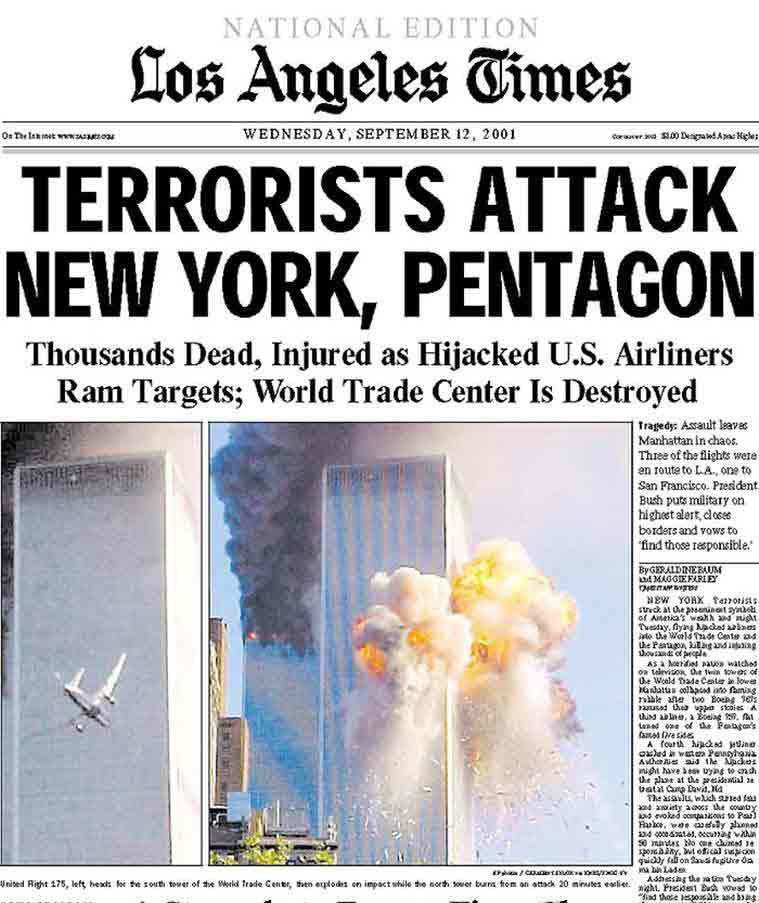 The cover of the LA times on Sept. 12, 2001.