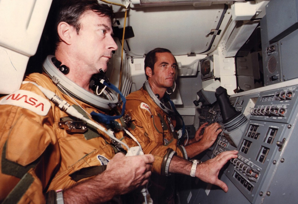 Inside the command of the Columbia space craft.