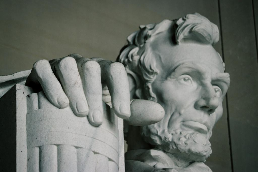 Close up of the Lincoln Memorial.