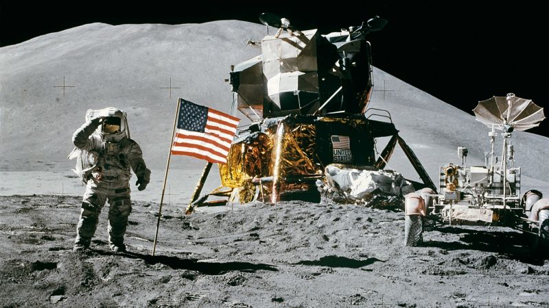 Man pictured on the moon.