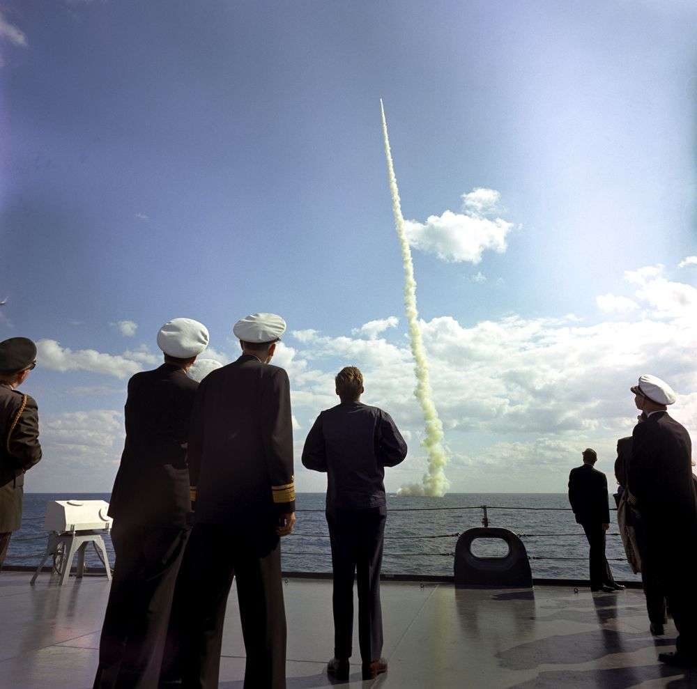 Kennedy watches a missile fly from the submarine USS Andrew Jackson.