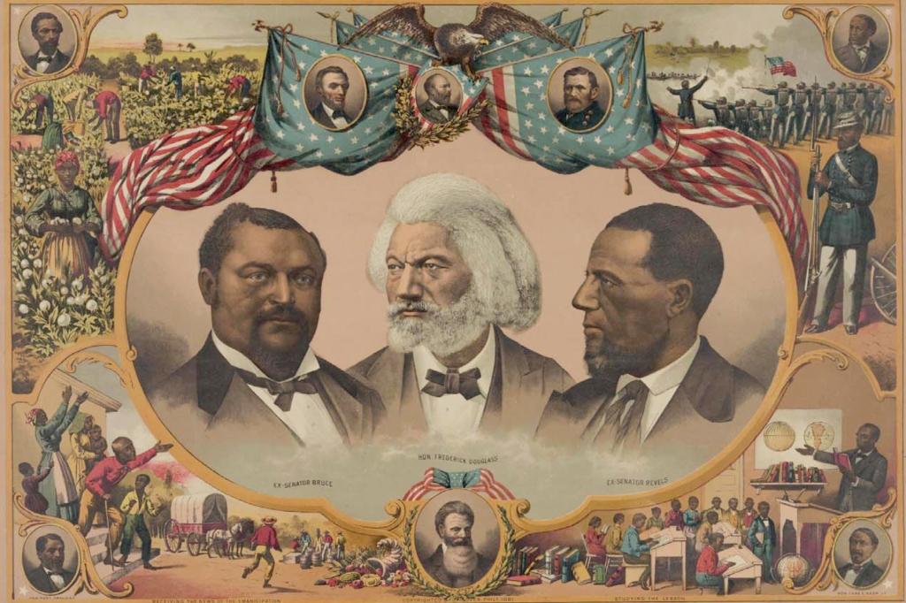 An illustration showing Sen. Blanche K. Bruce, Frederick Douglass and Sen. Hiram Revels, from left.