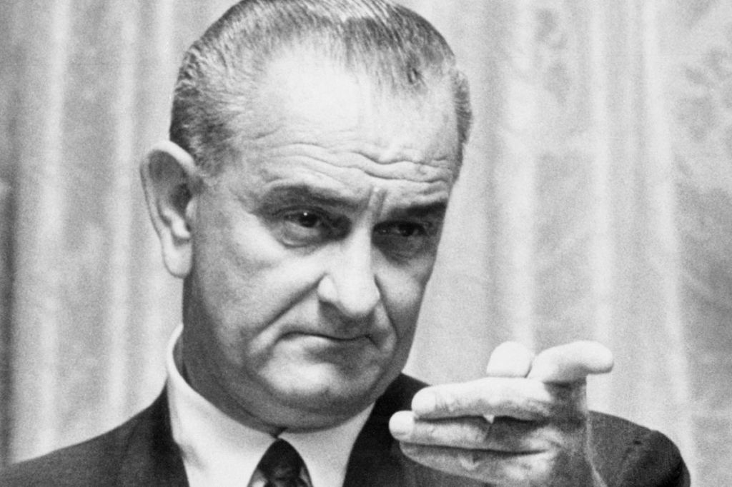 Lyndon B Johnson addresses Congress in the evening January 8, 1965 in his State of the Union