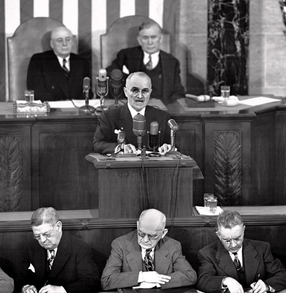 President Truman delivers his State of the Union to Congress on January 8, 1951.