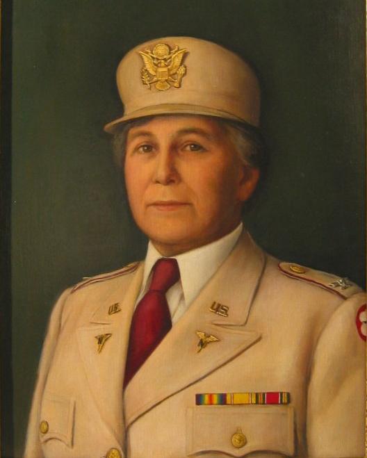 Portrait of Colonel Julia Flikke in khaki uniform. U.S. Army Nurses, Army Nurses Corps.