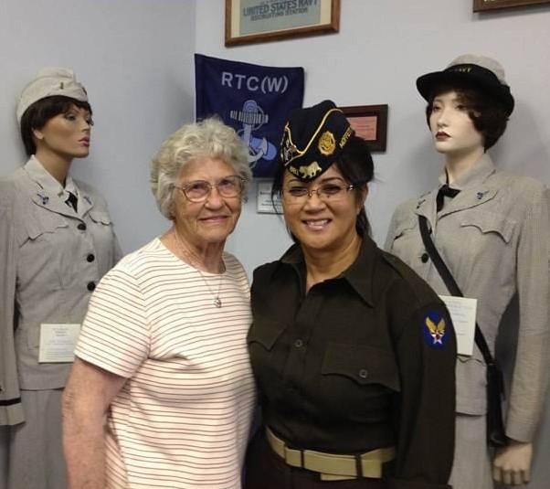 Carolann Wunderlin pictured with World War 2 WAVE.