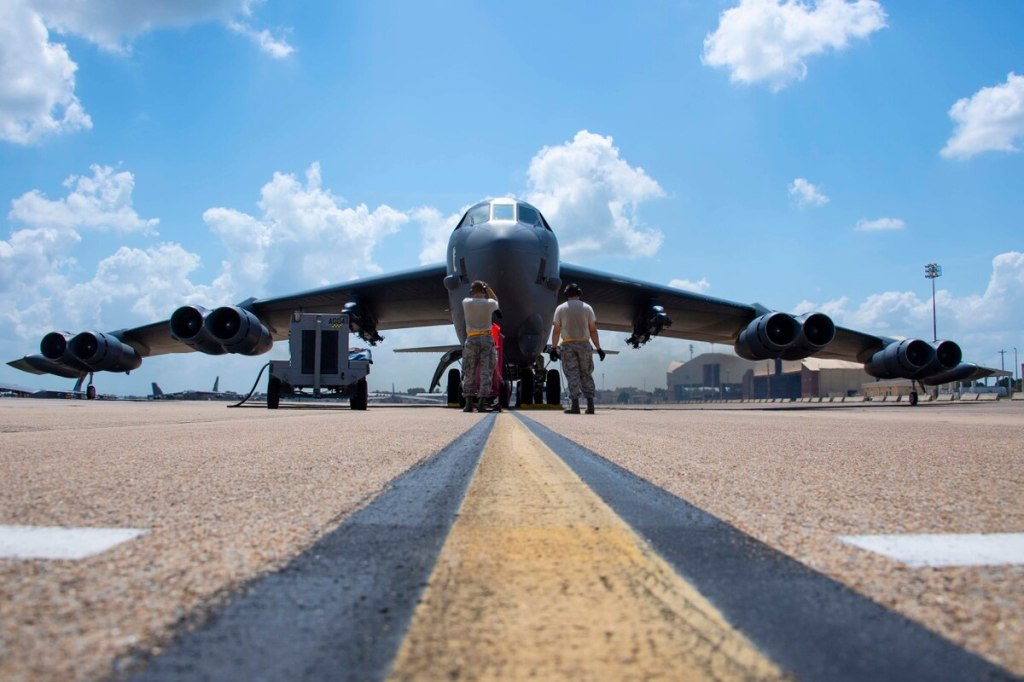 B-52 about to taxi off.