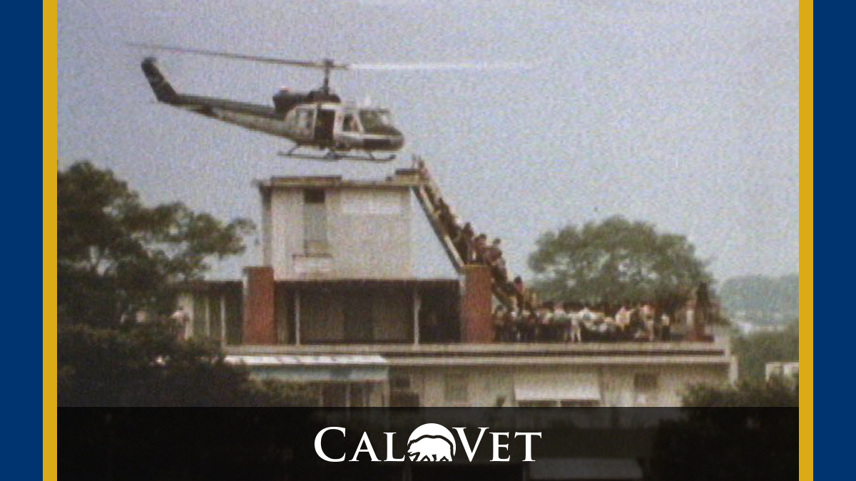 Last helicopter at the Saigon Embassy, 1975.