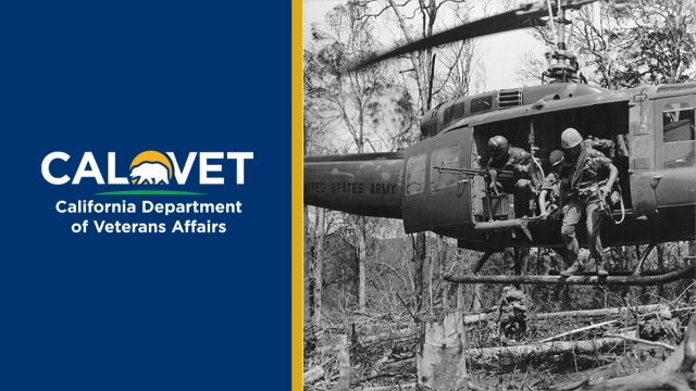 CalVet logo and American soldiers jumping out of a helicopter in Vietnam.