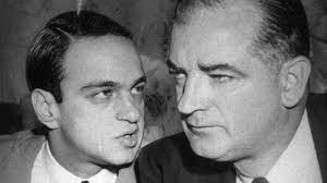 McCarthy listens to Cohn during the Army vs McCarthy hearing.