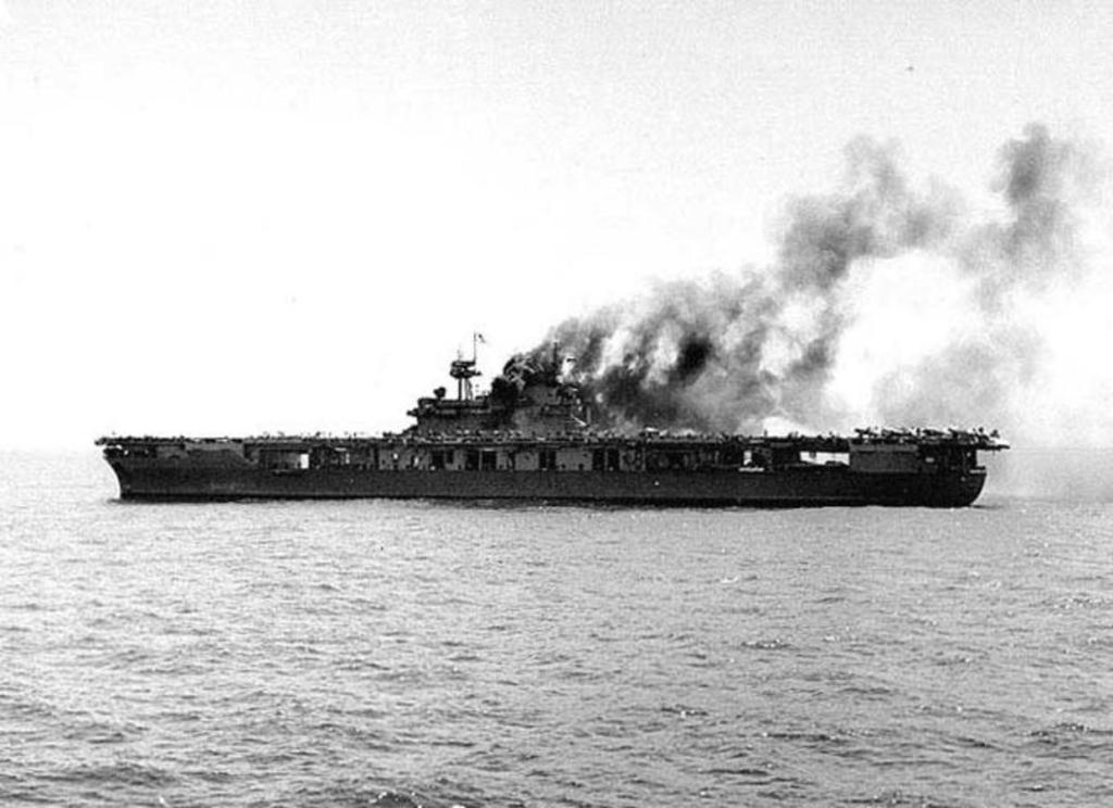 A photo of the Yorktown right before it goes under the ocean.