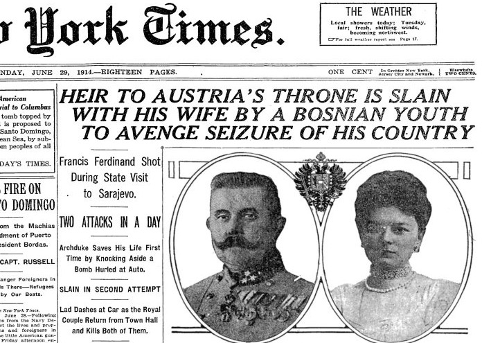 Second attack on the Archduke and wife ends in their death.