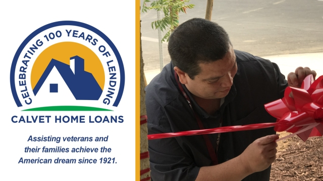Homeowner prepping house for ribbon cutting ceremony.