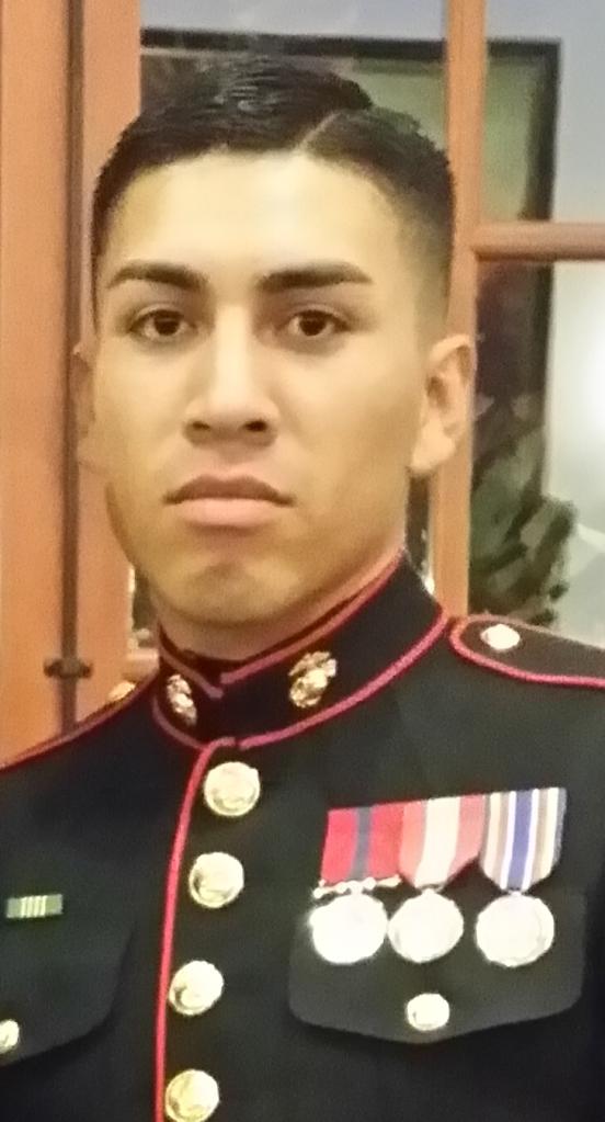 Proud Marine in dress uniform.