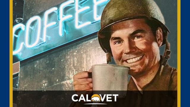 """Iconic photo of an Army guy with a tin cup waiting for coffee. There is a sign in the background that says """"coffee."""""""