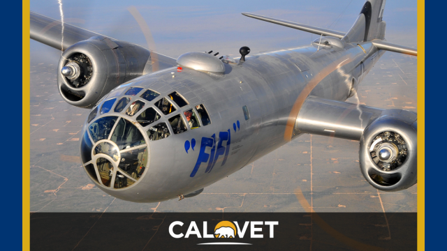 A B-29 bomber flying over the central valley of California.