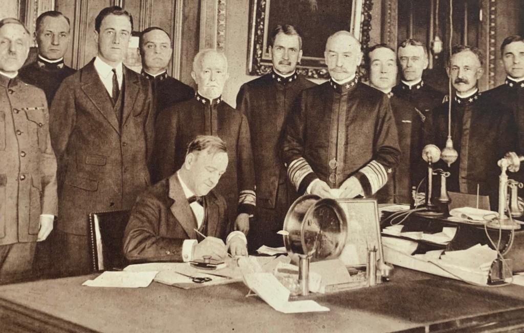 Photo of Josephus Daniels, with Franklin D. Roosevelt standing behind.