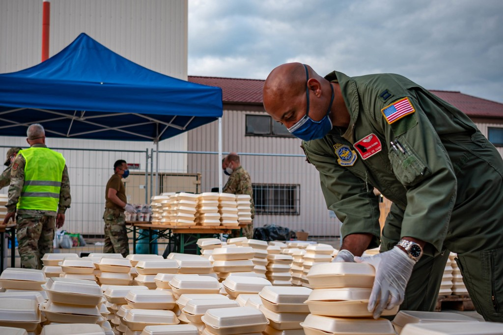 U.S. Air Force Capt. Ranon Barber, stocks dinner meals at Ramstein Air Base, Germany. Barber supported Operation Allies Refuge through building pods and stocking meals for Afghan evacuees.