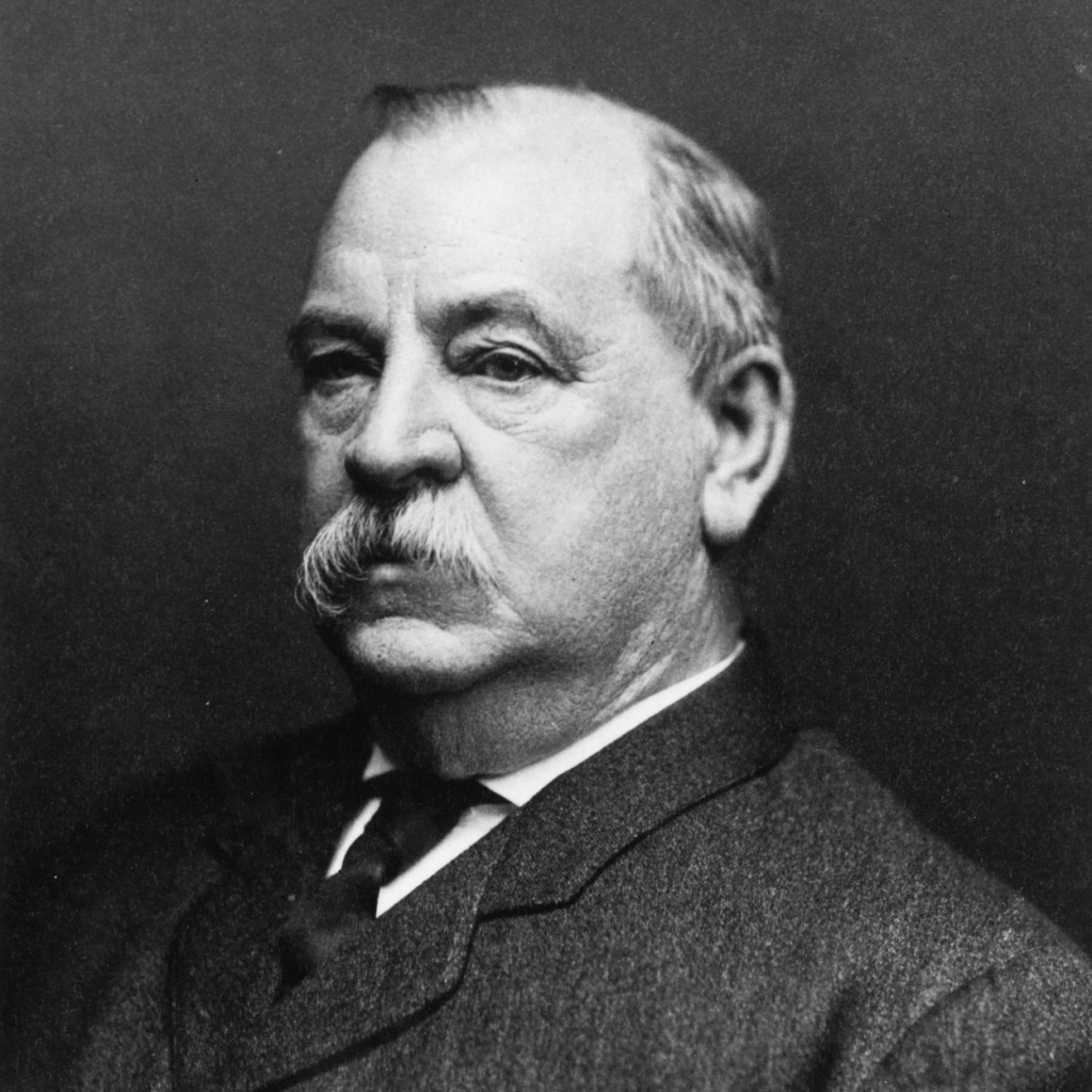 Head and shoulders illustration of President Grover Cleveland.
