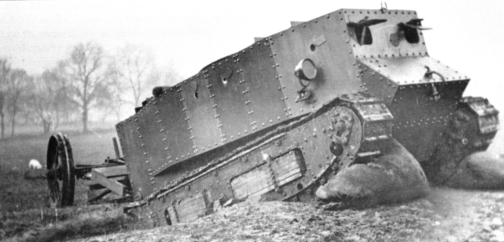 A photograph of the first military tank prototype went for a test drive in Great Britain to use in World War I.