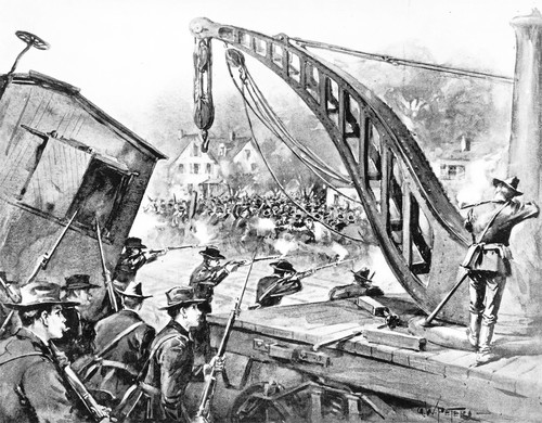 Illustration of the violence in Chicago during the 1894 Pullman factory strike.
