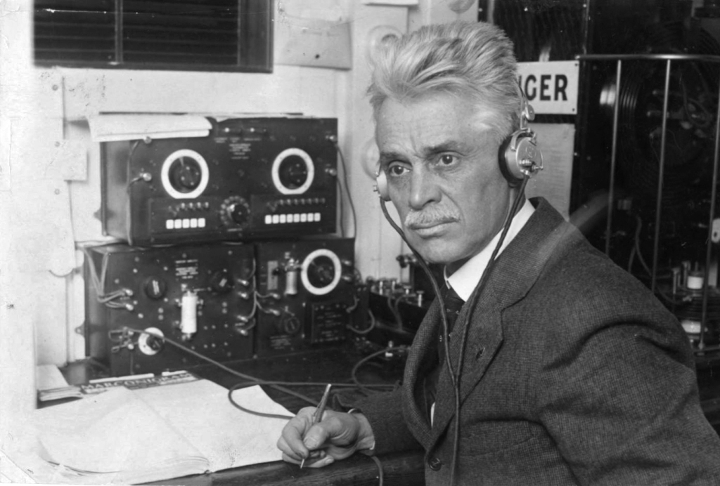 A b/w photo of Hiram Percy Maxim who was an American radio pioneer and inventor, and co-founder of the American Radio Relay League.