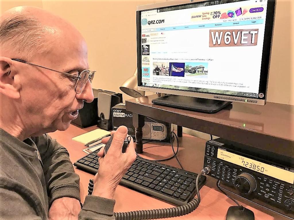 Photo of ham radio operator Michael VanCleemput at the Redding Veterans Home.